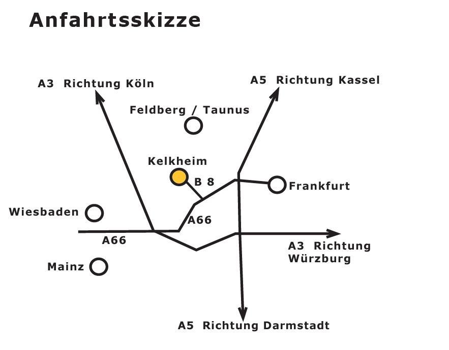 Anfahrt nach Kelkheim / Taunus